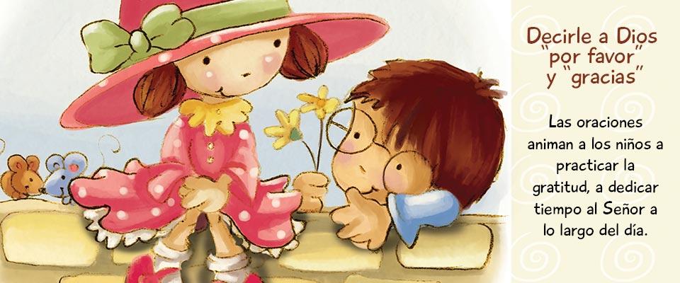 Las oraciones animan a los niños a practicar la gratitud, a dedicar tiempo al Señor a lo largo del día.